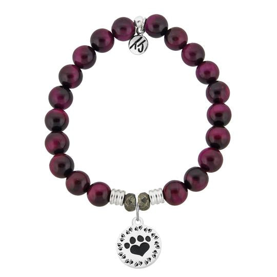 T. Jazelle Pink Tiger's Eye Stone Bracelet with Paw Print Sterling Silver Charm