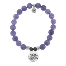 Load image into Gallery viewer, T. Jazelle Purple Jade Stone Bracelet with Lotus Sterling Silver Charm