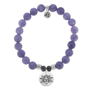 T. Jazelle Purple Jade Stone Bracelet with Lotus Sterling Silver Charm