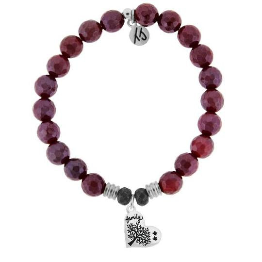 T. Jazelle Red Ruby Agate Stone Bracelet with Family Tree Sterling Silver Charm