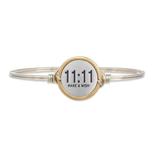 Luca+ Danni 11:11 Make A Wish Bangle Bracelet - Petite/Silver Tone