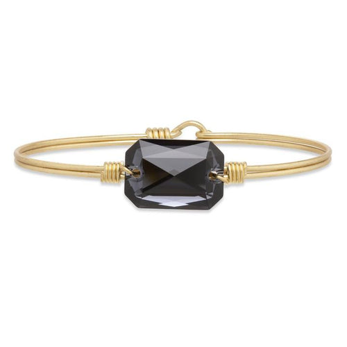 Luca+ Danni Dylan Bangle Bracelet In Graphite - Petite/Brass Tone