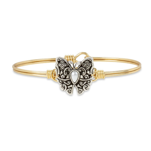 Luca+ Danni Butterfly Bangle Bracelet - Petite/Brass Tone