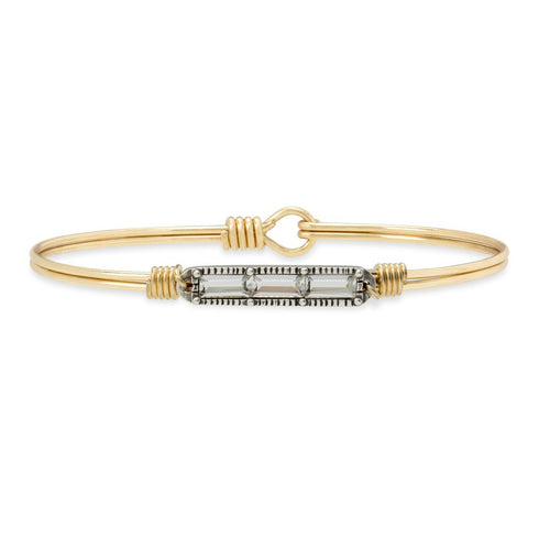 Luca+ Danni Mini Hudson Bangle Bracelet in Crystal - Regular/Brass Tone
