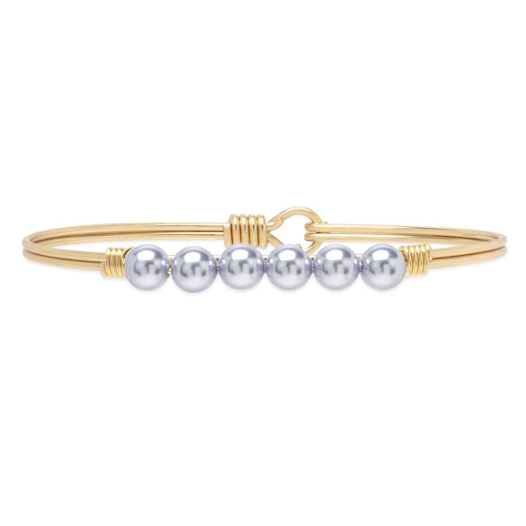 Luca+ Danni Crystal Pearl Bangle Bracelet in Lavender - Petite/Brass Tone