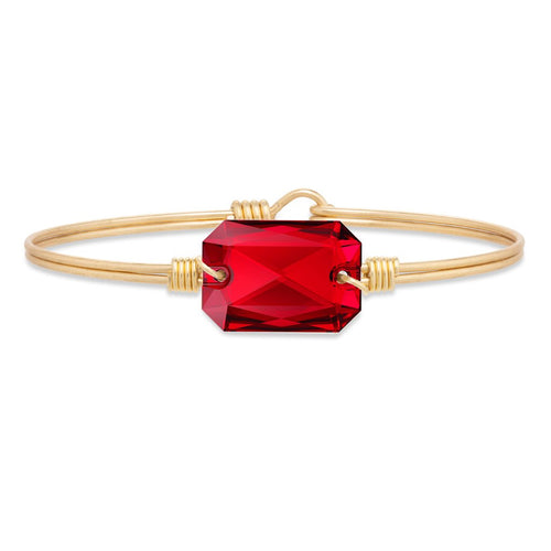 Luca+ Danni Dylan Bangle Bracelet in Scarlet - Petite/Brass Tone