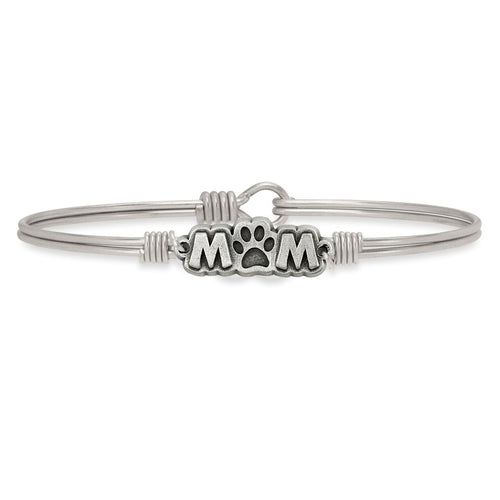 Luca+ Danni Fur Mom Bangle Bracelet - Petite/Silver Tone