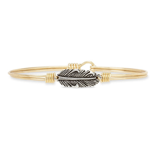 Luca+ Danni Mini Lucky Feather Bangle Bracelet - Petite/Brass Tone