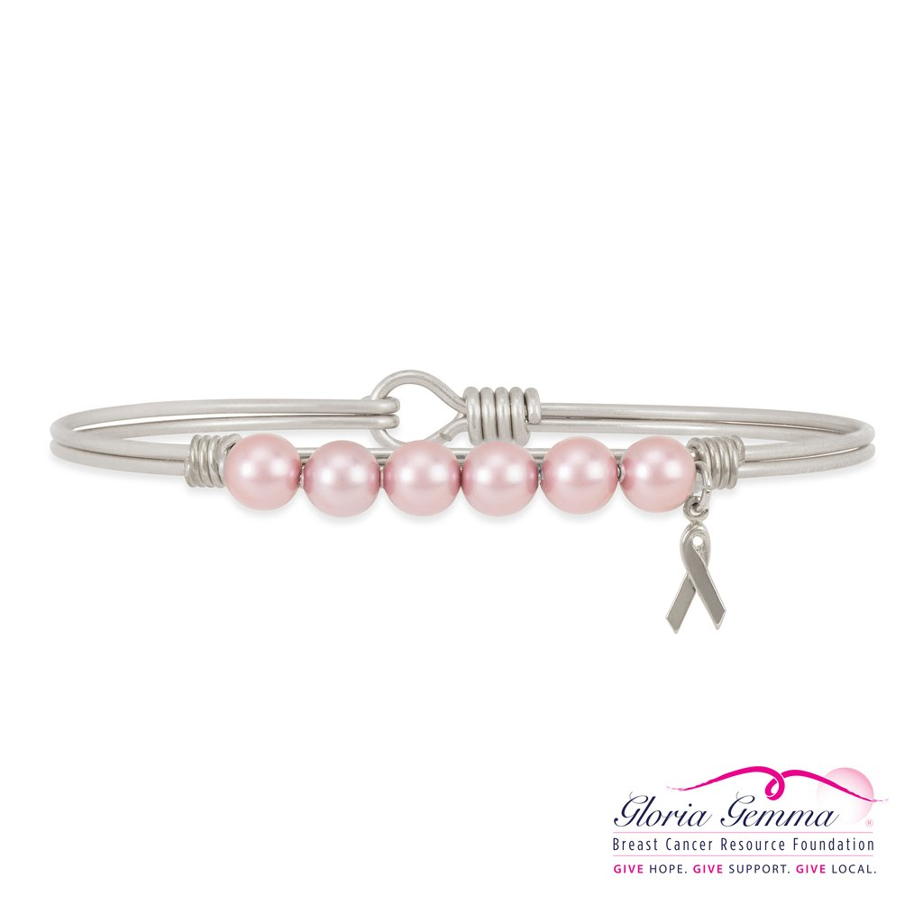 Luca+ Danni Breast Cancer Crystal Pearl Bangle Bracelet - Petite/Silver Tone