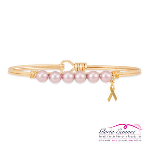 Luca+ Danni Breast Cancer Crystal Pearl Bangle Bracelet - Petite/Brass Tone
