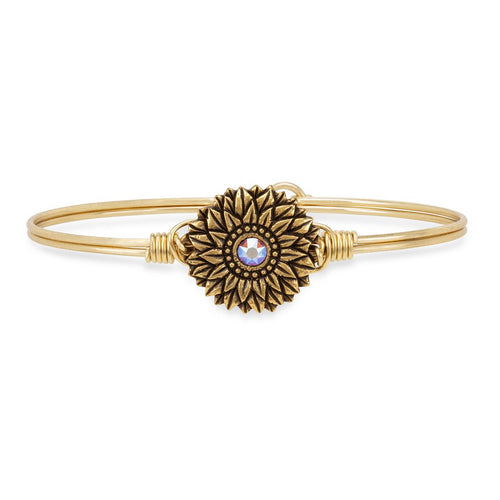 Luca+ Danni Sunflower Bangle Bracelet - Petite/Brass Tone