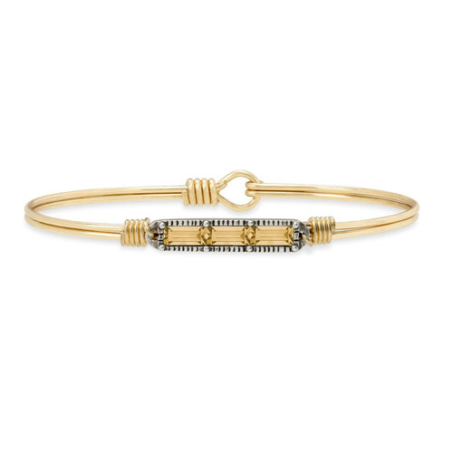 Luca+ Danni Mini Hudson Bangle Bracelet in Autumn - Petite/Brass Tone