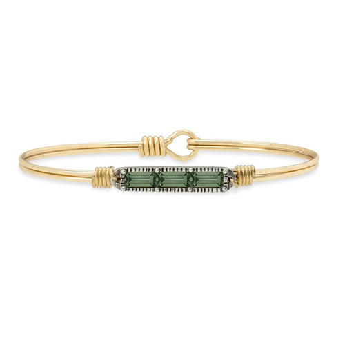 Luca+ Danni Mini Hudson Bangle Bracelet in Pine - Petite/Brass Tone