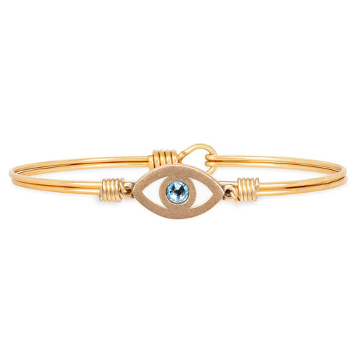Luca+ Danni Evil Eye Bangle Bracelet - Petite/Brass Tone