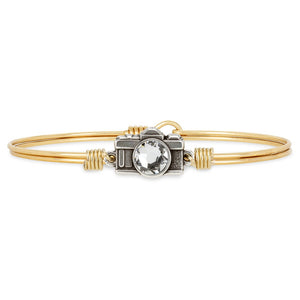 Luca+ Danni Camera Bangle Bracelet - Petite/Brass Tone