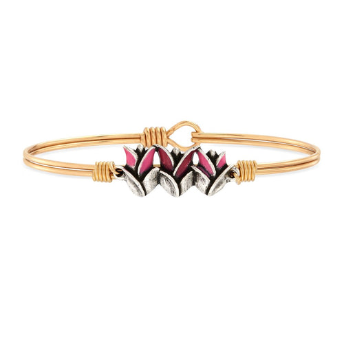 Luca+ Danni Tulips Bangle Bracelet - Petite/Brass Tone