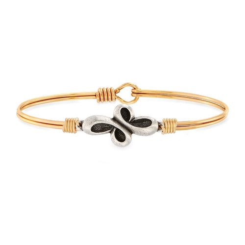 Luca+ Danni Eternal Cross Bangle Bracelet - Petite/Brass Tone