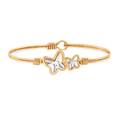 Luca+ Danni Butterflies Bangle Bracelet in Crystal - Petite/Brass Tone