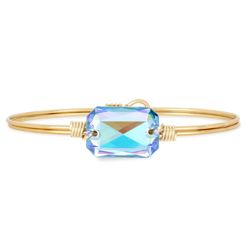 Luca+ Danni Dylan Bangle Bracelet in Arctic Blue - Petite/Brass Tone