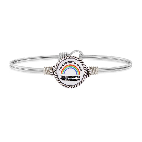 Luca+ Danni Rainbow of Hope Bangle Bracelet - Petite/Silver Tone