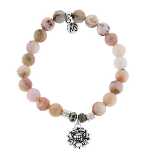 T. Jazelle Pink Opal Stone Bracelet with Sunflower Sterling Silver Charm