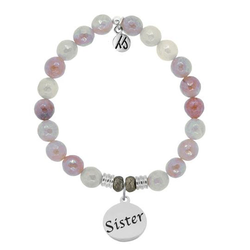T. Jazelle Sunstone Stone Bracelet with Sister Endless Love Sterling Silver Charm