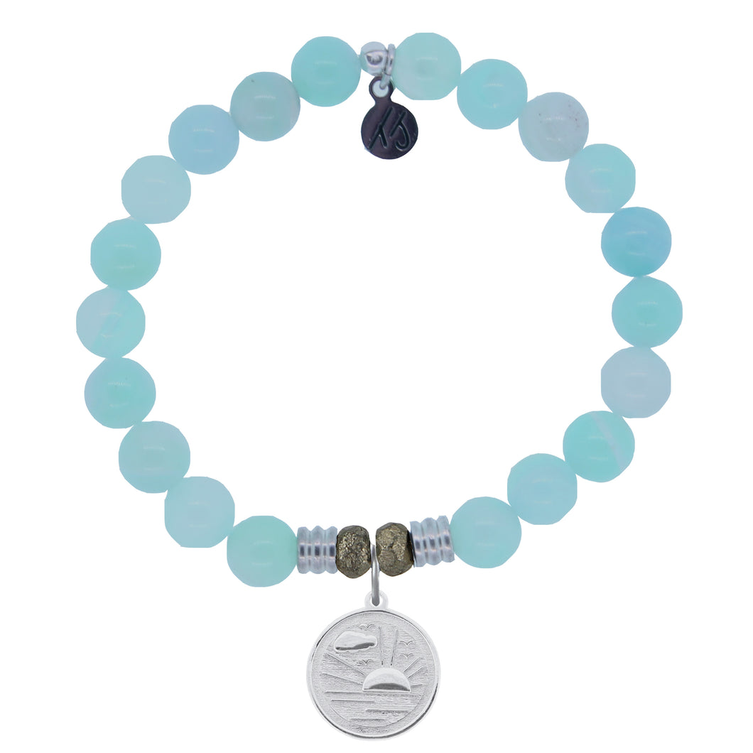 T. Jazelle Aqua Agate Stone Bracelet with New Day Sterling Silver Charm