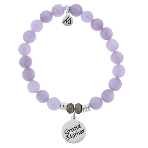 T. Jazelle Kunzite Stone Bracelet with Grandmother Endless Love Sterling Silver Charm