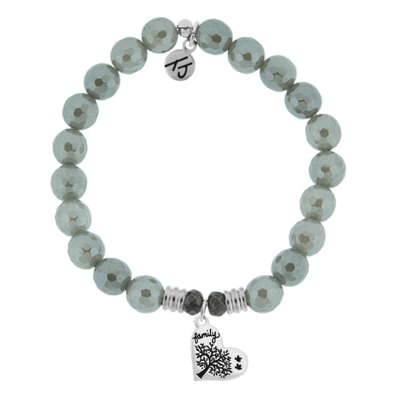 T. Jazelle Grey Agate Stone Bracelet with Family Tree Sterling Silver Charm