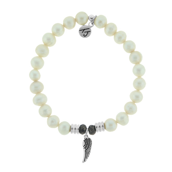 T. Jazelle White Pearl Stone Bracelet with Angel Wing Sterling Silver Charm