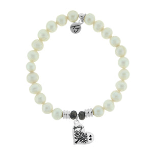 T. Jazelle White Pearl Stone Bracelet with Family Tree Sterling Silver Charm