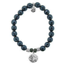 Load image into Gallery viewer, T. Jazelle Navy Hematite Stone Bracelet with Cactus Sterling Silver Charm