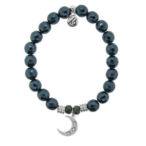 T. Jazelle Navy Hematite Stone Bracelet with Friendship Stars Sterling Silver Charm