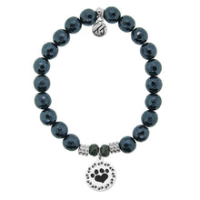 Load image into Gallery viewer, T. Jazelle Navy Hematite Stone Bracelet with Paw Print Sterling Silver Charm