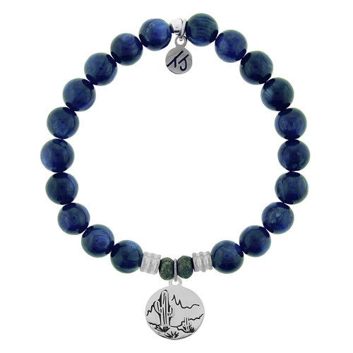 T. Jazelle Kyanite Stone Bracelet with Cactus Sterling Silver Charm