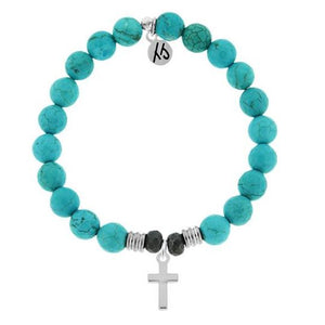 T. Jazelle Turquoise Stone Bracelet with Cross Sterling Silver Charm