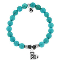 Load image into Gallery viewer, T. Jazelle Turquoise Stone Bracelet with Family Tree Sterling Silver Charm