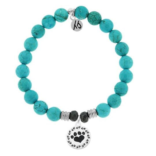 T. Jazelle Turquoise Stone Bracelet with Paw Print Sterling Silver Charm