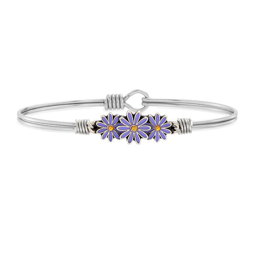 Luca+ Danni Cancer Awareness Daisy Bangle Bracelet - Petite/Silver Tone