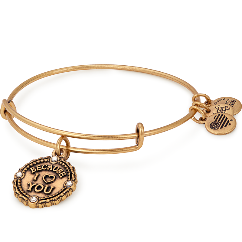Because I Love You Charm Bangle Gold