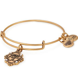 Because I Love You Sister Charm Bangle Gold