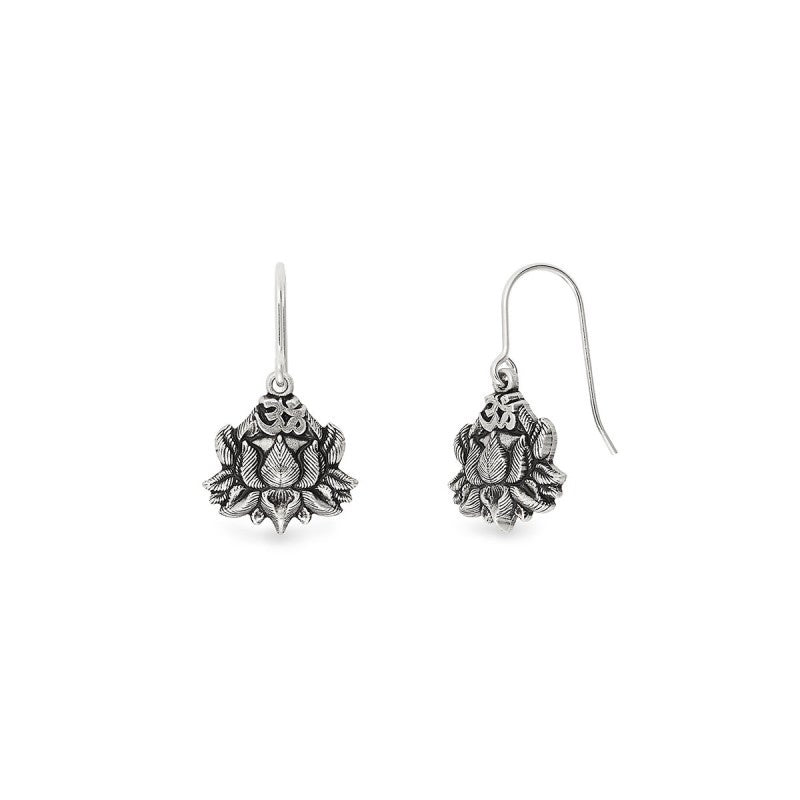 Alex and Ani Lotus Peace Petals Hook Earrings