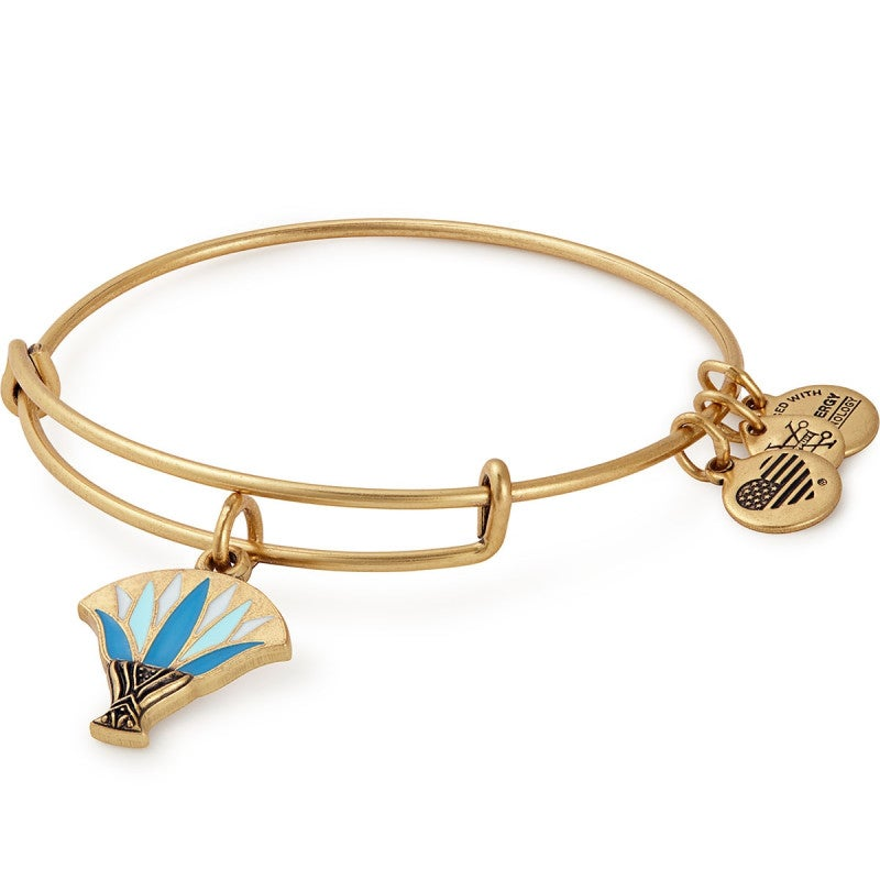 Alex and Ani Blue Lotus Charm Bangle