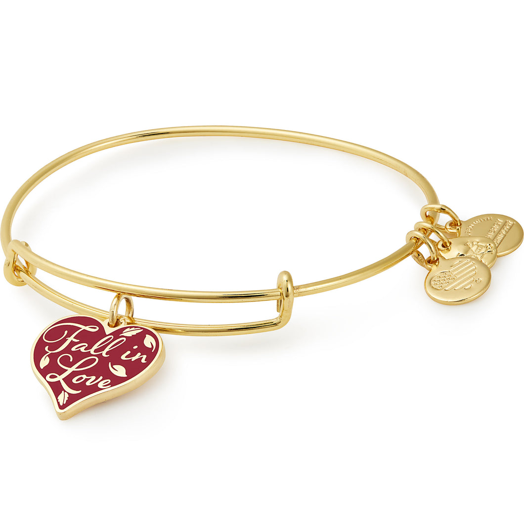 Alex and Ani Fall in Love Charm Bangle Shiny Gold