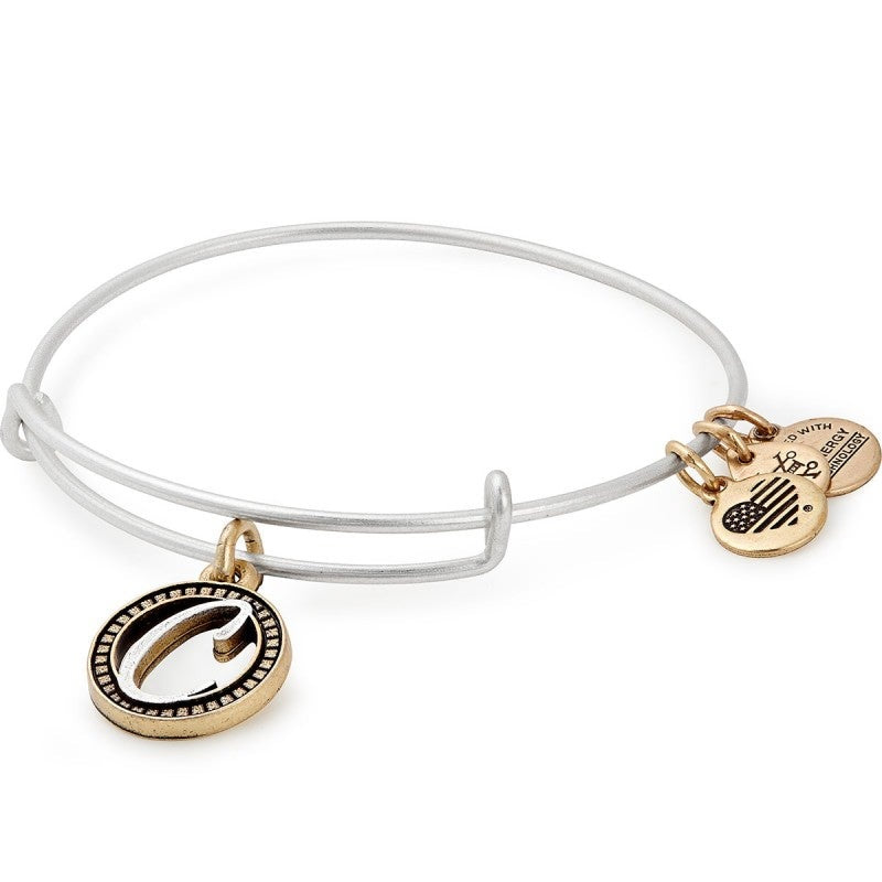 Alex and Ani Initial D II Bangle Two Tone Silver