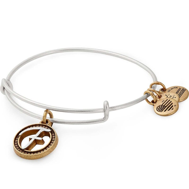 Alex and Ani Initial F II Bangle Two Tone Silver