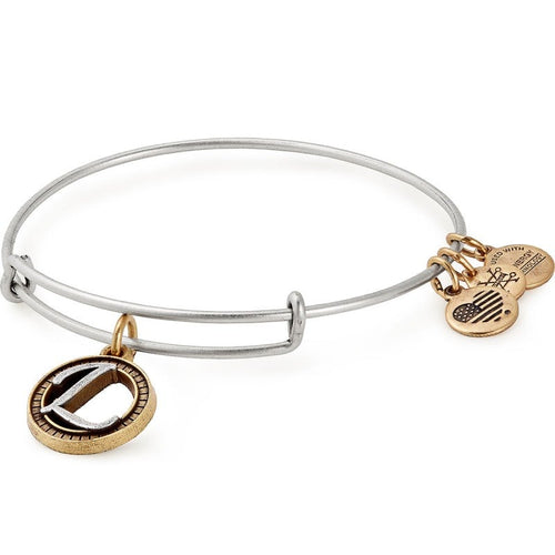 Alex and Ani Initial L II Bangle Two Tone Silver
