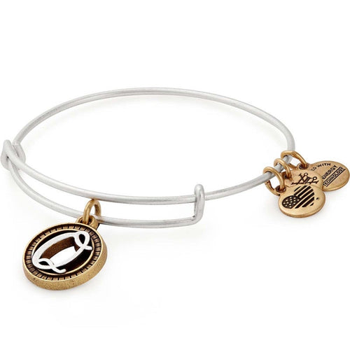 Alex and Ani Initial Q II Bangle Two Tone Silver