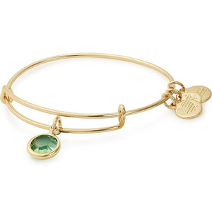 Alex and Ani - August Peridot Birthstone Charm Bangle With Swarovski® Crystals Shiny Gold