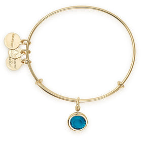 December Blue Zircon Birthstone Charm Bangle With Swarovski® Crystals Shiny Gold